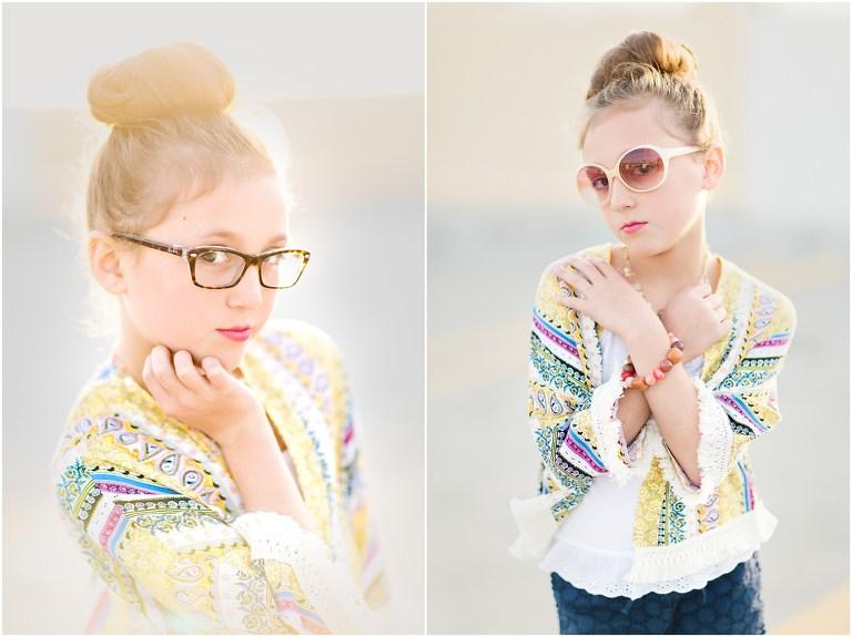 Little girl wears new Ray Ban glasses in sunlit portrait