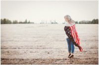 Woman wearing American flag scarf
