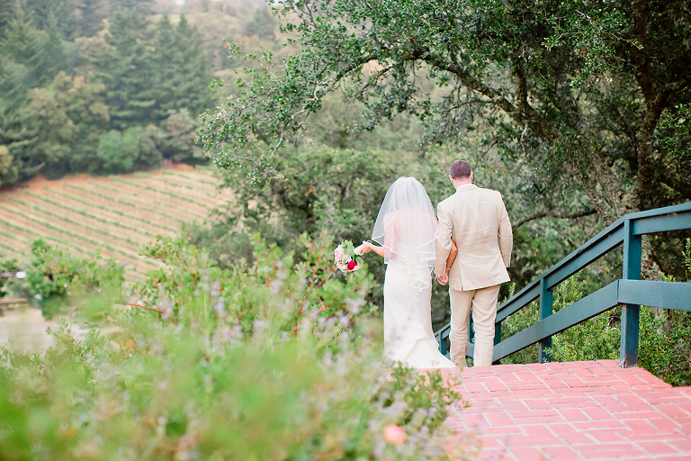bride and groom walking to reception in santa cruz mountains