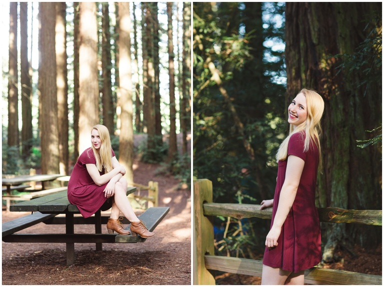 beautiful senior portraits of girl in reddress posing in the forest