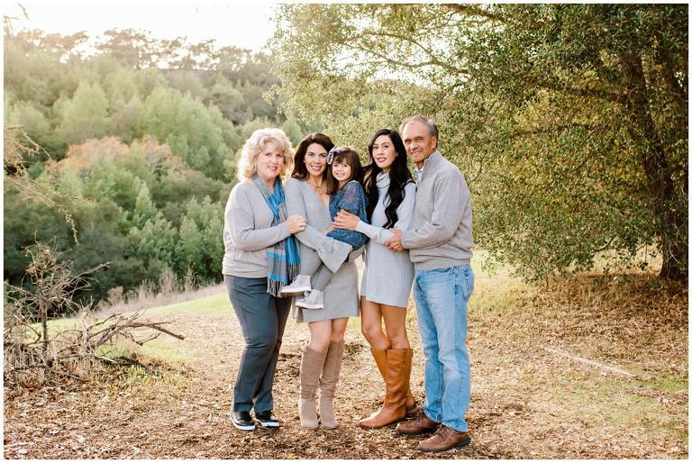 family including grandparents pose in pleassanton for fall mini session
