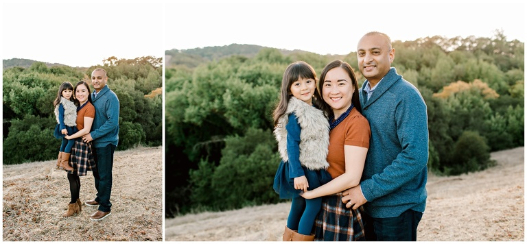 family portrait of mom dad and daughter for mini session